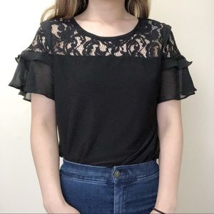 4/$25 - Anne Klein black lace ruffle blouse